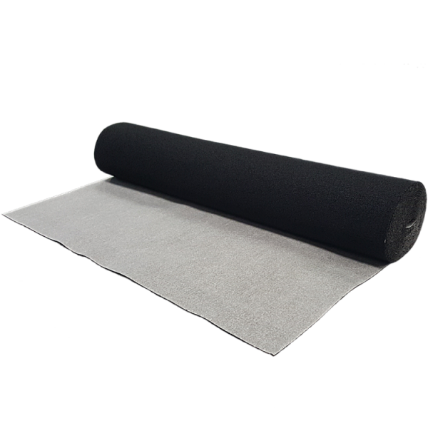 A roll of home acoustic underlay with vapour barrier for laminate, vinyl, hardwood and engineered hardwood.